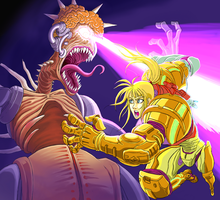 Super Metroid, Samus and Mother Brain. by Omegachaino