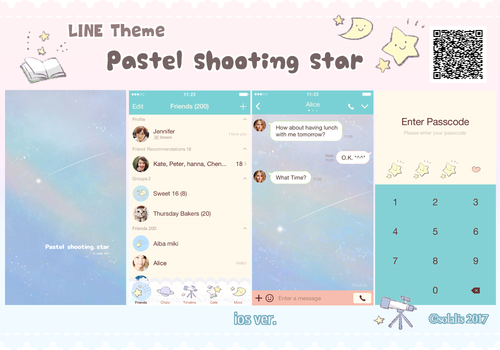LINE theme Pastel shooting star by solalis1226