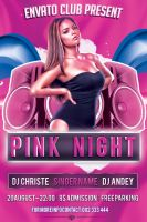 Pink Night Flyer Free PSD Template by KlarensM