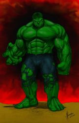 My coloring of Dale Keown's Hulk by Romey1973