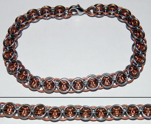 Stainless Steel and Copper Helms Deep Bracelet by xShojirox