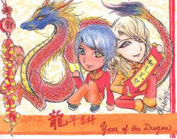 Year of the Dragon: OCs Sykuu and Axinva by MimiMarilyn