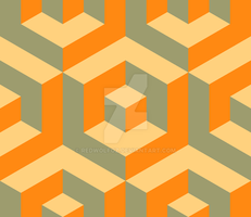 Geometric Pattern: Cube Inset: Orange by redwolfoz