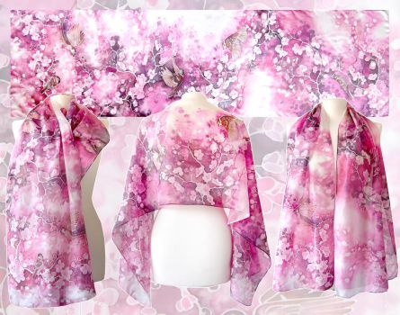 Cherry Blossom and Sparrows scarf by MinkuLul