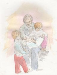Reading to the great-grandkids by Aqutalion