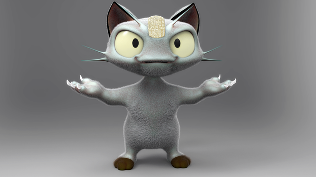 Zbrush Doodle Day 540 - Meowth by UnexpectedToy