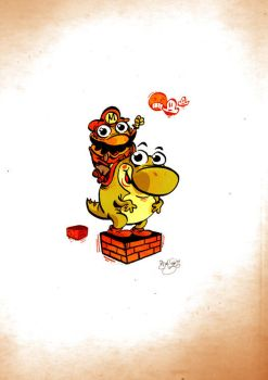 Little Mario and Yoshi by Themrock