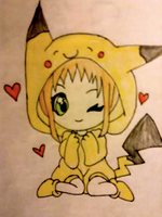 Cute Pika Girl by WhiteBleedingFox