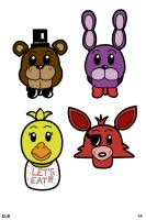 Five Nights at Freddy's chibi-pop heads by hotcheeto89