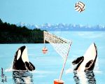 ORCA WHALES PLAYING VOLLEY BALL