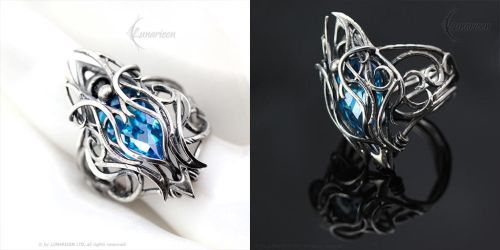 FTHERN ARNGH - Gothic Ring - Silver, Blue Zirconia by LUNARIEEN