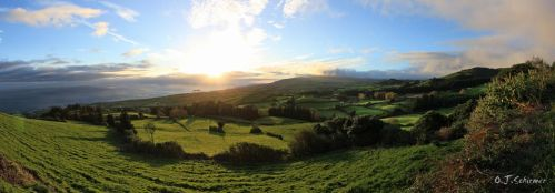 Azores sunset panorma by Sockrattes