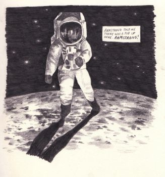 Solitary Spaceman 'in space' by drawingsbycharlotte