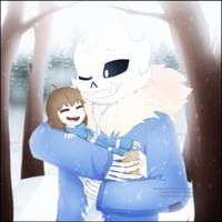 [Commission #2] Feraltale Frisk and Sans by BlurryNightSky