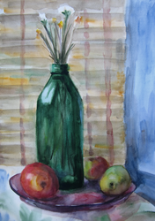Still Life With Apples And Bottle by Kaitana