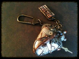 SOLD OUT:Silver Steampunk Heart Keychain (Front) by random-wish