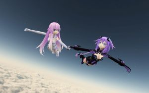 Purple Heart and Purple Sister's Flight by KennyVsTheUniverse