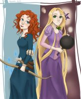 Merida and Rapunzel - Power combined by Maneodra