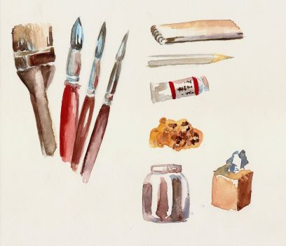 my materias for watercolor by Ducavernoso