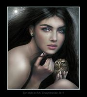 Portrait with owl by crayonmaniac