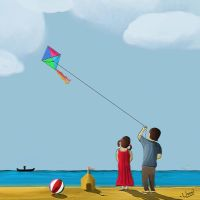 kids and Kite by unnibabu