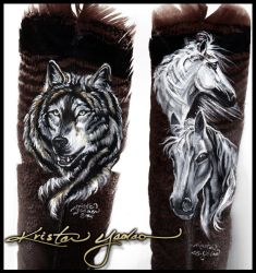 Two Feathers: wolf and horses by dittin03