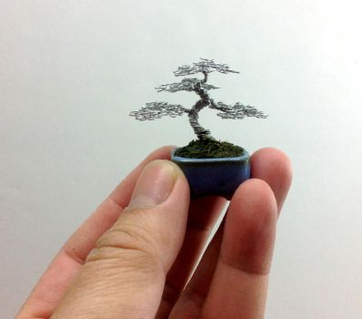Mame Wire Bonsai tree Sculpture by Ken To by KenToArt