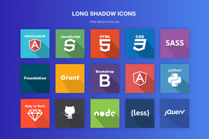 Free vector flat/ long shadow icons by jozef89