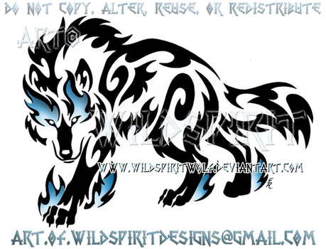 Blue Flame Prowling Tribal Wolf Design by WildSpiritWolf