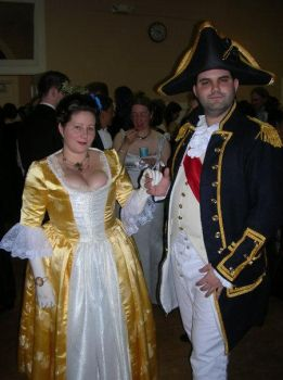 gold gown and Royal navy ensamble 18th century by barelyproper