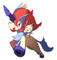 Keldeo and Celebi by monomite
