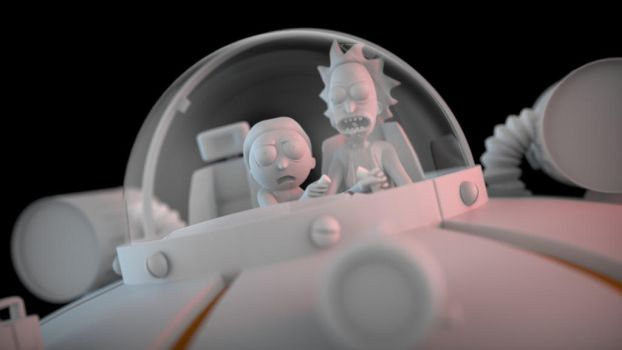Rick and Morty inside saucer - detail by juzmental