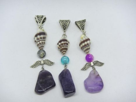 Pendants with a conch and amethyst by IngaleCreations
