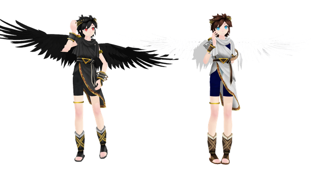 MMD TDA Pit and Dark Pit by KittyNekkyo