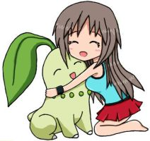 Pokemon Blue and Chikorita