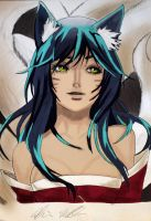 Leauge of Legends - Ahri (Coloured) by MonkeyDDante