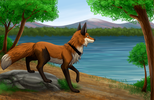 Fox art swap 2016 by MistyGoldArt