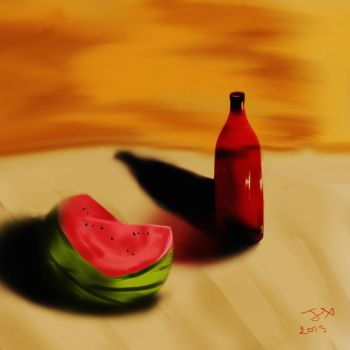 fruit and bottle by xsay28