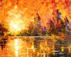 Castle By The River 3 by Leonid Afremov by Leonidafremov