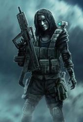 Woman soldier with gun by Likozor