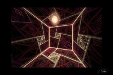Inside a Dimly Lit Splits-Ngon Cube Room Valentine by crotafang