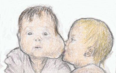 A breast on a baby's cheek by gagambo
