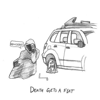 Living Daily with Death-- Flat tire by Sequana