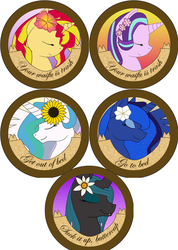 Rude Pony Buttons: Princesses + Misc by Rainbow-Smashed