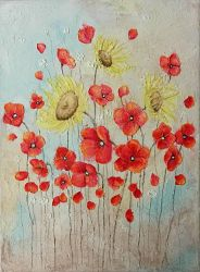 Poppies and sunflowers by Coccis