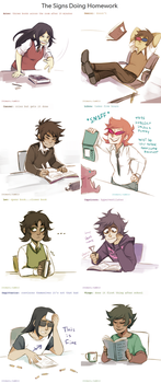 The Signs Doing Homework by ikimaru-art