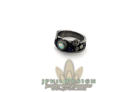 Steampunk Goblin Queen Opal and Sapphire Ring by jphiijewelry
