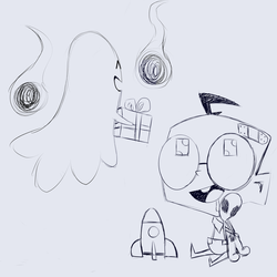 Baby Dib and a ghost doodle by Glitched-Irken