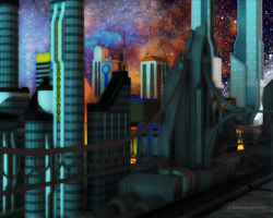 City At Night by kittenwylde