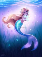 Mermaid with Glowing Fish by DylanBonner